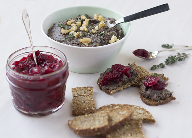 Black Lentil Pate and Cranberry Relish | Joy of Yum