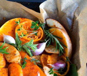 Messy Butternut Squash ready for oven | Joy of Yum