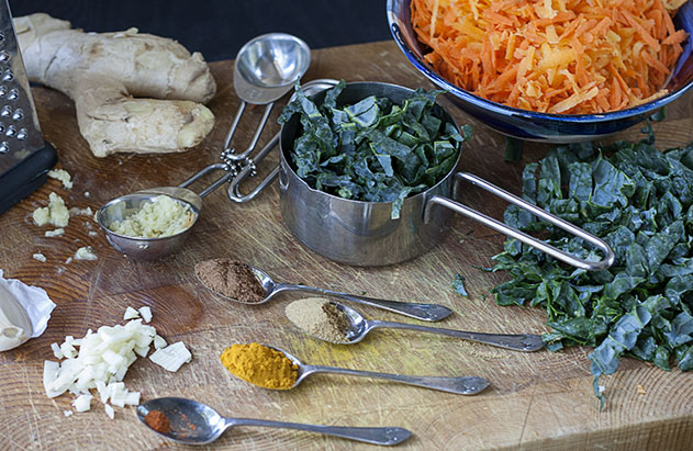 joy of yum carrot and kale soup ingredients